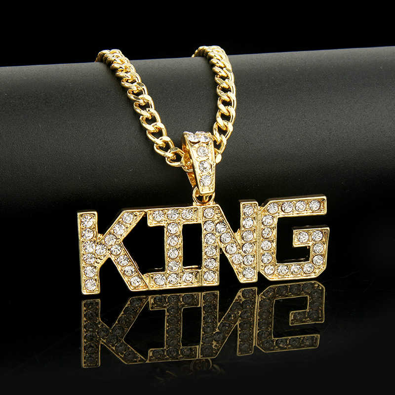 Men Hip Hop Full Rhinestone King Shape Pendants Necklaces Bling Bling Iced Out Cuban Link Chain Hiphop Necklace Men Jewelry Gift