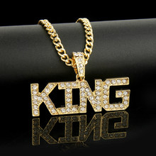 Men Hip Hop Full Rhinestone King Shape Pendants Necklaces Bling Bling Iced Out Cuban Link Chain Hiphop Necklace Men Jewelry Gift(China)