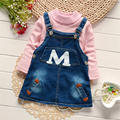 New year high quality Boy and girls Cloth Set To keep warm red Sweater cowboy dress M words 2Pcs Cotton Outfits 1-4 years old