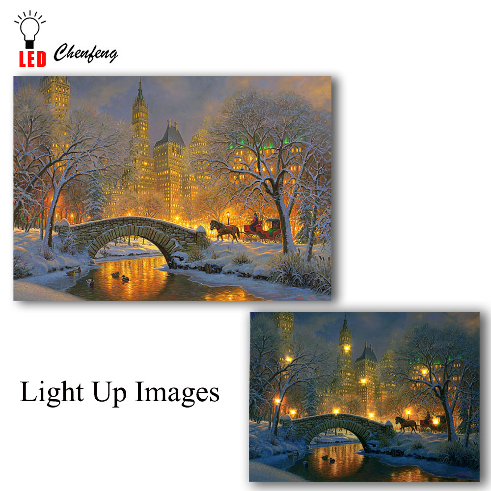 Led Canvas Printing Winter Night In Central Park Christmas Illuminated Canvas Paintings  Light Up Posters And Print Holiday Gift