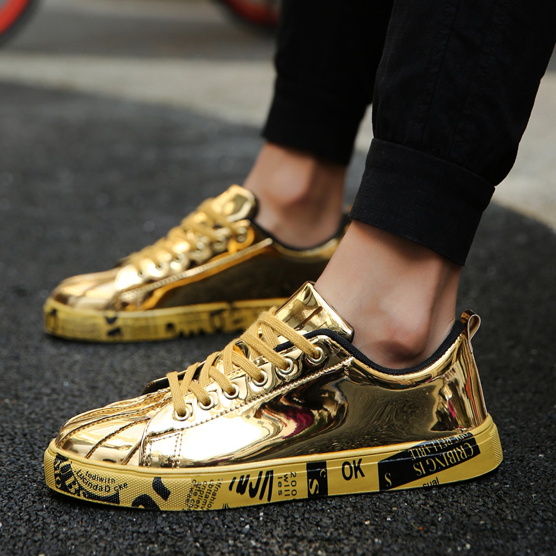 Big Size Men Shoes Brand Summer Flats Men Casual Shoes Lace Up Mens Trainers Golden Fashion Lovers Zapatillas Deportivas Hombre