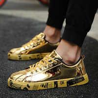 De gran tamaño los zapatos de los hombres de verano de marca de pisos zapatos casuales de los hombres de hombres formadores dorados de moda amantes Zapatillas Deportivas Hombre