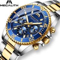 MEGALITH-reloj deportivo de lujo para hombre, cronógrafo de cuarzo, resistente al agua, con fecha analógica, de pulsera, de acero completo
