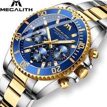 MEGALITH יוקרה Mens שעוני ספורט הכרונוגרף עמיד למים אנלוגי 24 שעה תאריך קוורץ שעון גברים מלא פלדת יד שעונים שעון