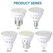 8PCS Bombilla LED E27 Corn Lamp GU10 Bulb 220V SMD 2835 MR16 Spotlight E14 B22 Home Decoration Ampoule 48 60 80LEDs