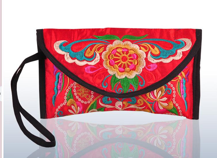 10pcs lot woman Embroidered Wallet Purse Handmade Ethnic Flowers Embroidery Women Long Wallet Day Clutch HandBag in Clutches from Luggage Bags