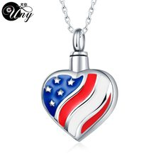 UNY Trendy Stainless Steel America Flag Pet Urn Ashes Pendant Perfume bottle Memorial Ash Keepsake Cremation Jewelry Free Ship(China)