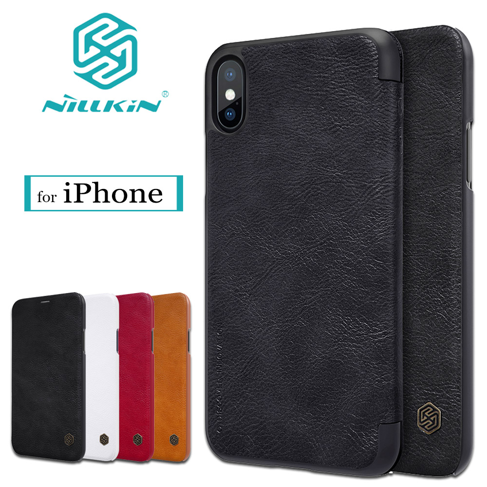 Nilkin Coque Cover for iPhone X 8 7 6S 6 Plus Case Nillkin Qin Vintage Luxury Flip Leather Back Phone Bag for iPhone X 8 7 6S 6