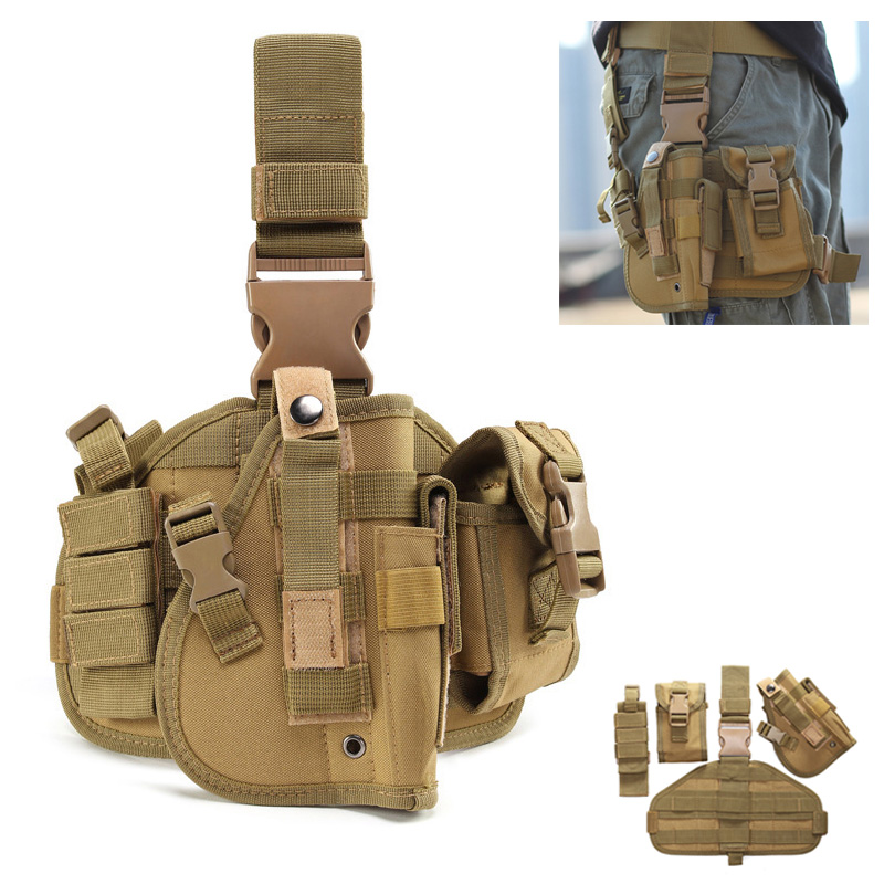 Military Tactical Drop Leg Bag Multifunction Combination Pistol Holster Leg Hanger Camouflage Pockets Thigh Pack Hunting Bag