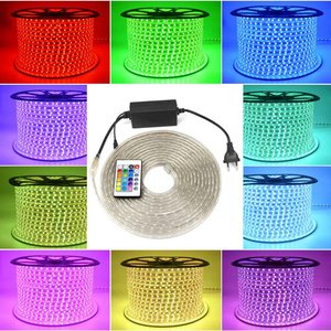 Image 2 - AIMENGTE 슈퍼 밝은 220V LED 스트립 빛 1M/2M/3M/4M/5M/10M/15M 방수 LED 실내 옥외 장식 테이프 EU 플러그