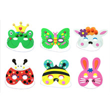 1pc cartoon animal DIY handcrafted EVA mask novelty funny manual children Kindergarten teaching aids toys random styles(China)