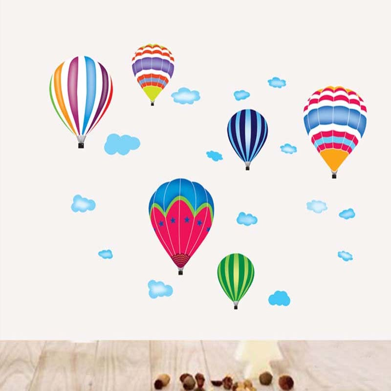 2017 Cartoon Hot Air Balloons and clouds Removable Wall sticker Vinyl Decals For Kids Room Boys Home Decoration Mural