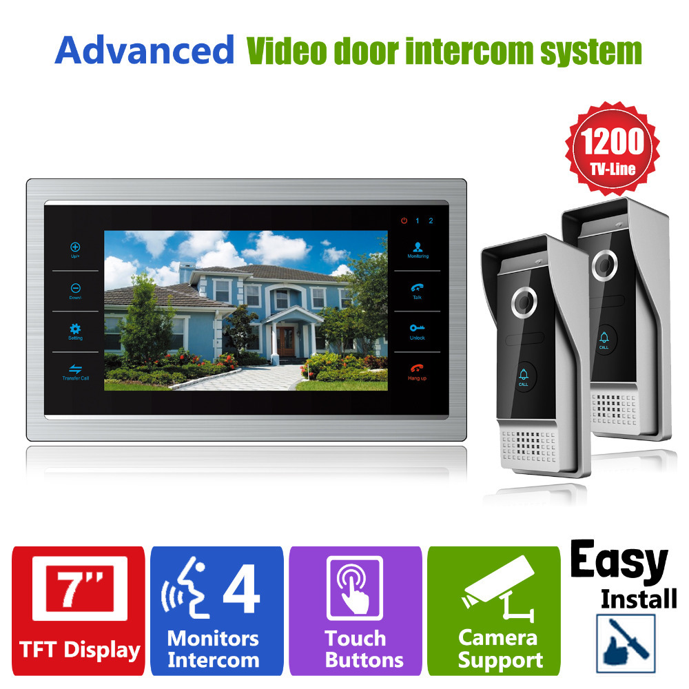 Homefong 7 Inch TFT LCD Color Video Doorphone Doorbell Intercom System Night Vision Touch Key 2 Outdoor 1200TVL Camera lcd wired video security doorphone camera tft screen video interphone infrared night vision doorbell intercom