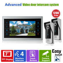 Homefong 7 Inch TFT LCD Color  Video Doorphone Doorbell Intercom System  Night Vision Touch Key  2 Outdoor 1200TVL Camera