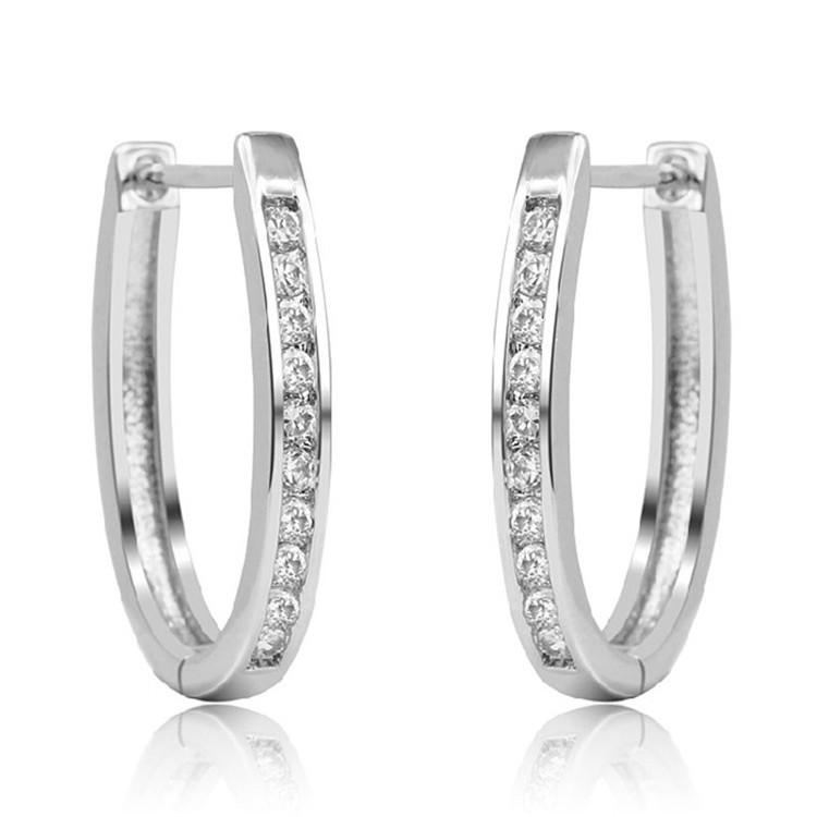 Hot New Woman 925 sterling silver crystal white gold Color hoop