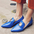 Plus Size 34-43 European Fashion women shoes Genuine Leather Pumps Slip-On Ladies Shoes Spring Autumn Pointed Toe Casual Shoes