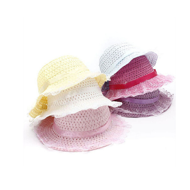 95a7d7707c8 5 Colors 1PCS Top Fashion Toddler Baby Girls Lace Flower Node Brim Hat  Children Girls Summer Beach Sun Straw Cap 2-6Y