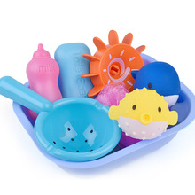 8 Pcs Silicone Baby Bath Toys Set Sprinkler Bathroom Water Spray Squeeze Soft Rubber Play Animals