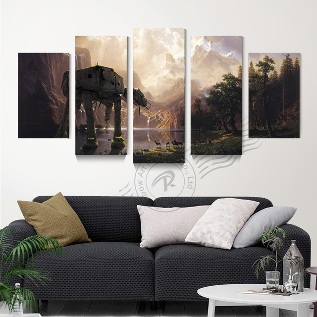 5 panel star wars leinwand wandkunst lgem lde abstrakte movie poster modulare wandbild f r. Black Bedroom Furniture Sets. Home Design Ideas