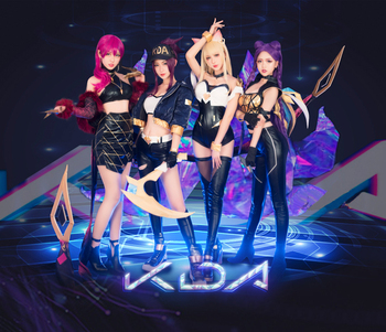 KDA Group Akali Ahri Kaisa Evelynn Cosplay Costume Game LOL K/DA Cosplay Women Outfit Coat Halloween Costumes image