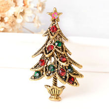 Fashion 2016 Christmas Gifts For Women Gold-Color Multi Style Cute Bell Small Christmas Tree Brooch Pins
