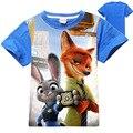 Meninos meninas zootopia t-shirt da camisa camisas zootopia Zootropolis Judy Hopps crianças crianças vestuário nova crianças roupas de verão zootopia