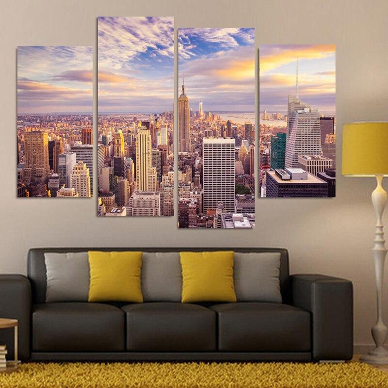 4-dílné plátno na zeď Obraz pro obývací pokoj Domácí dekorace Malované tištěné New York City Landscape on Canvas Unframed
