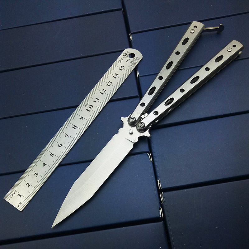 Tactique Pratique PAPILLON en couteaux no Sharp Outils flou Couteau Argent Titane Acier Inoxydable Métal Bali chanson EDC Jouets