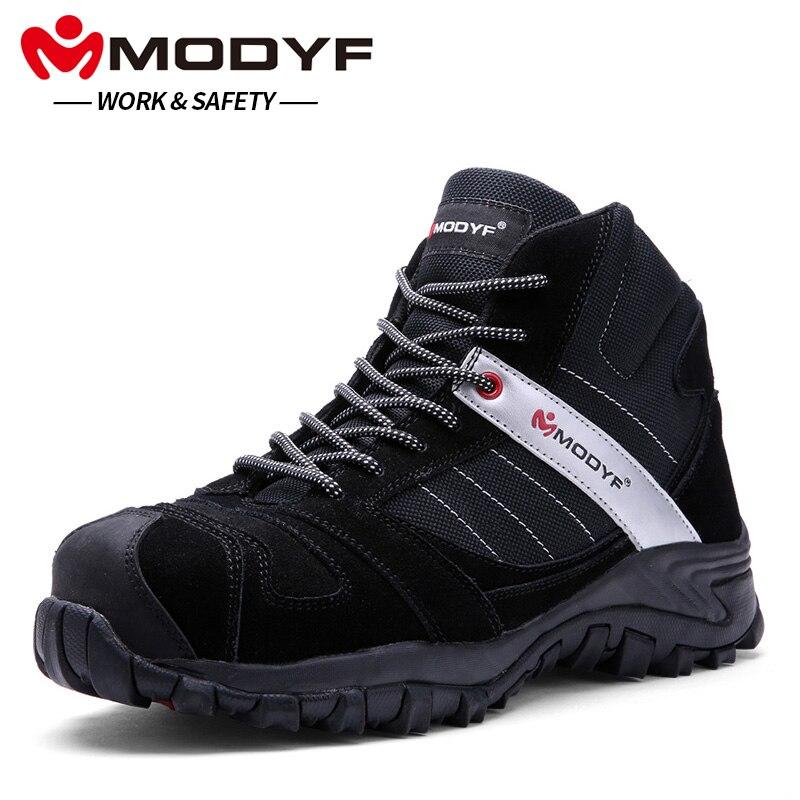 MODYF Для мужчин Сталь носком Кепки Рабочая безопасная обувь Ботильоны модные проколов обувь