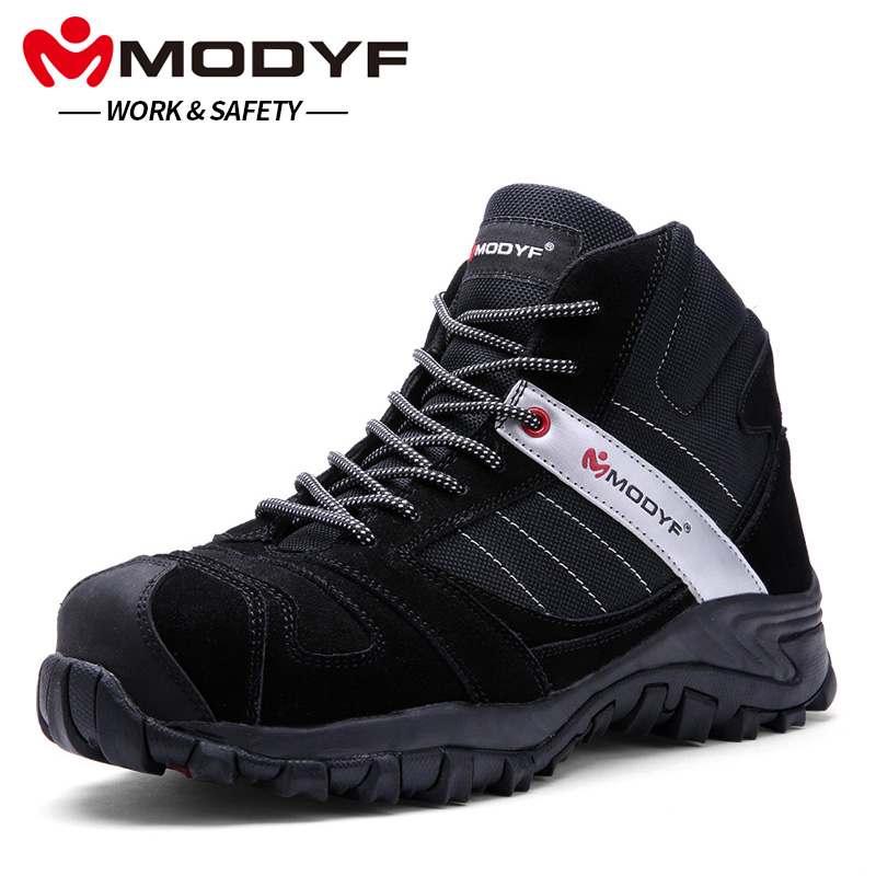 MODYF Men Steel Toe Cap Work Safety Shoes Outdoor Ankle Boots Fashion Puncture Proof Footwear цена 2017