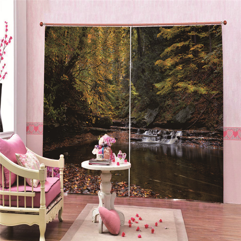 Autumn Leaves Water 3D Printed Blackout Curtains For Living Room Cute Drapes For Boys Room Kid Window Treatment Accessoires(China)
