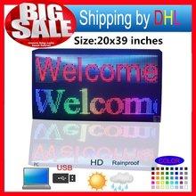 "20 "" X 39 "" P10 açık tam renkli kaydırma renkli metin mesajı LED ekran 103X55 CM SMD tam renkli reklam LED Işareti"