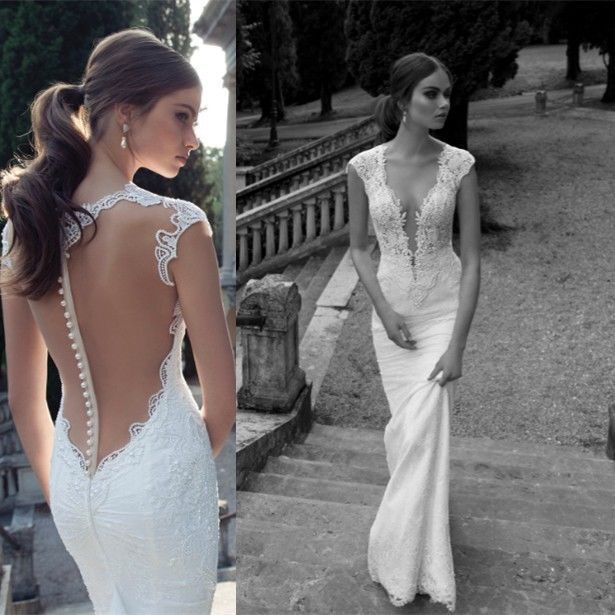 2016 Hottest White/Ivory Lace Bridal Gown Mermaid Wedding Dresses ...