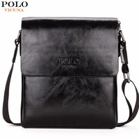 VICUNA POLO High Quality Waxy PU Leather Mens Messenger Bags Famous Brand Casual Business Man Bag