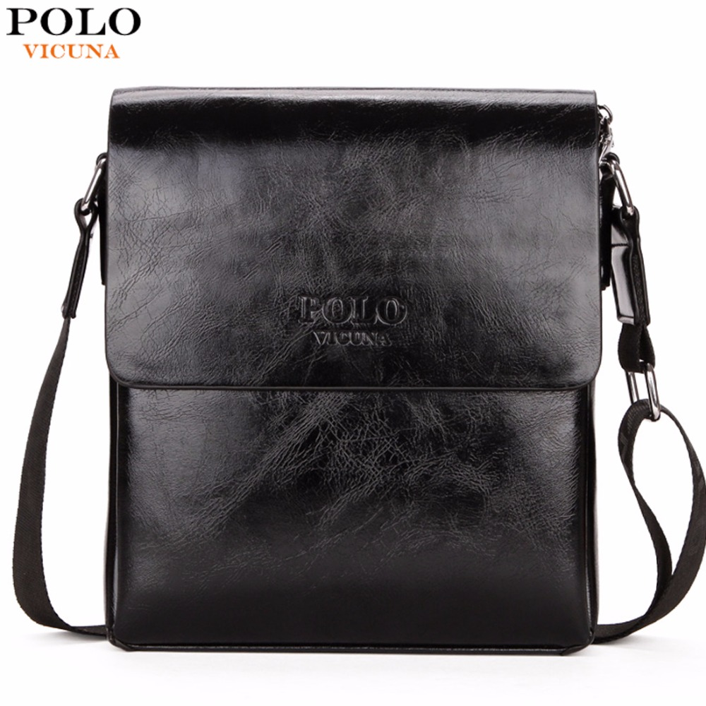 VICUNA POLO High Quality Waxy PU Leather Mens Messenger Bags Famous Brand Casual Business Man Bag Men Shoulder Bag Crossbody Bag high quality authentic famous polo golf double clothing bag men travel golf shoes bag custom handbag large capacity45 26 34 cm