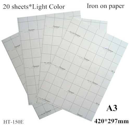 (A3*20pcs) Iron On Inkjet Heat Transfer Printing Paper For 100% Cotton Iron-on Tshirt Transfers Only For Light Fabrics HT-150E