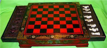26*25cm Height old handwork Collectibles Vintage 32 chess set with wooden Coffee table crafts tools wedding Decoration Brass