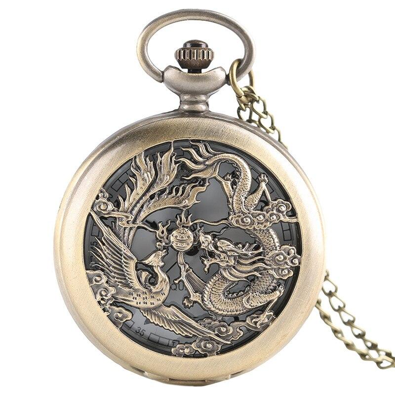 Half Hunter Classic Bronze Hollow Dragon & Phoenix Design Quartz Fob Pocket Watch With Necklace Chain Fashion Pendant Clock Gift