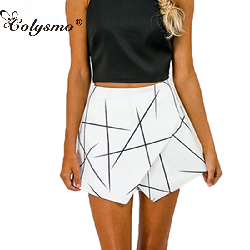 SH89 Womens White Sexy Wrap Origami Asymmetrical Angled Hem Geometric Print   Shorts   For Summer New 2016 Size S-XL