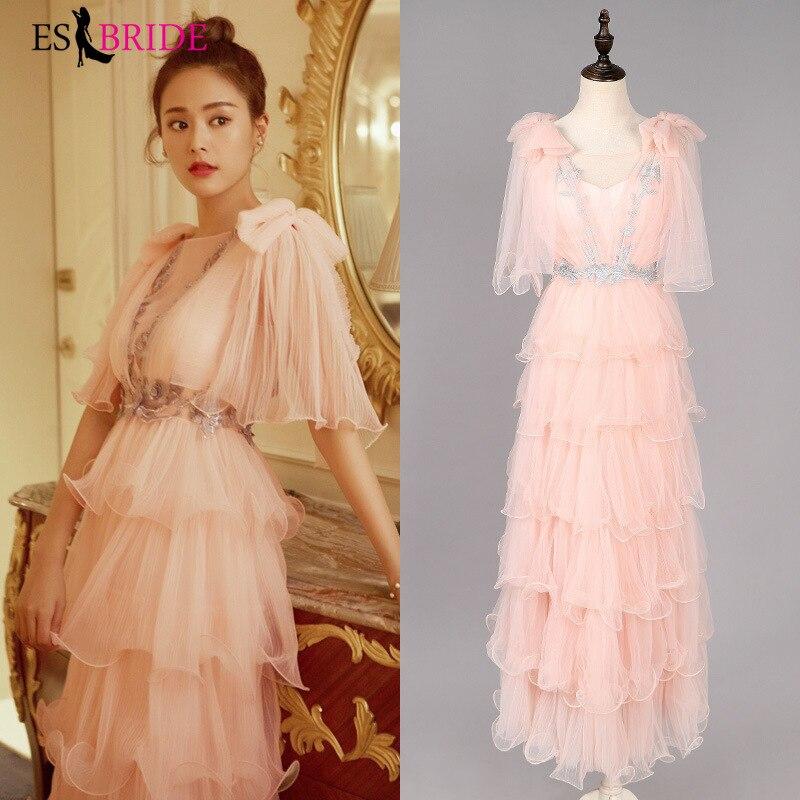 2019 New Ladies Long Evening Dress Pink Women Elegant Cake Dress Lace Slive Appliques Formal Party Gowns Robe De Soiree ES1950
