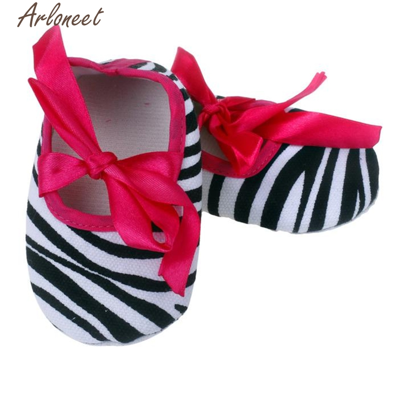ARLONEET Kids Baby Bowknot Stripe Printing Newborn Cloth Shoes