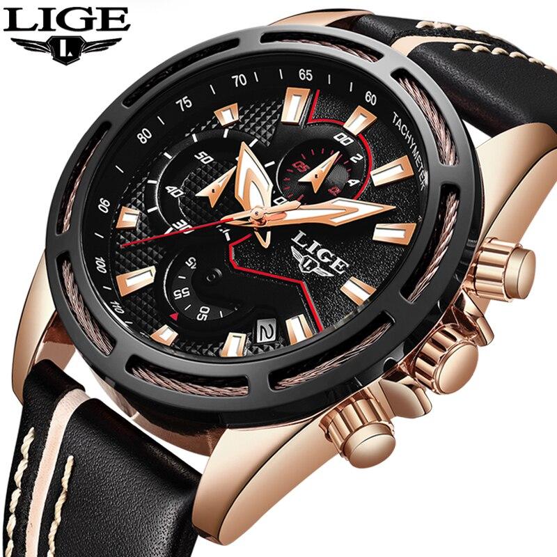 2018 New Mens Watches LIGE Top Brand Luxury Men's Military Sports Watch Men Leather Waterproof Quartz Watch Relogio Masculino