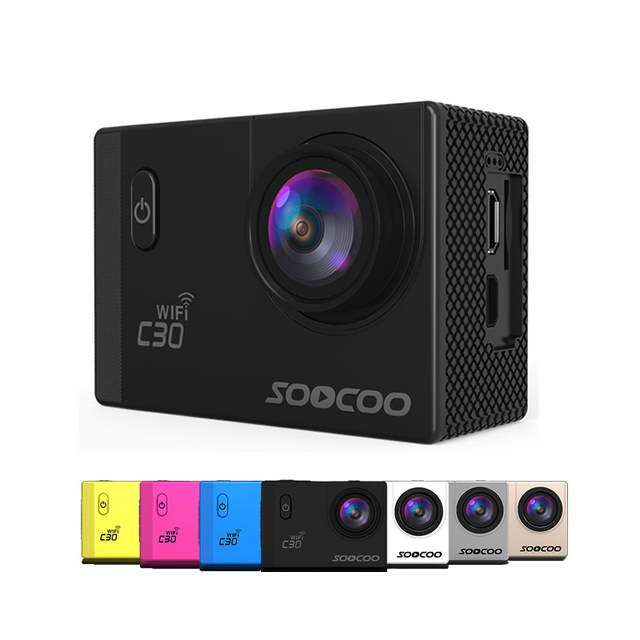 Soocoo c30/c30r gyro câmera de esportes wi-fi 4 k ajustável ângulos de visão (70-170 graus) ntk96660 30 m câmera de ação à prova d' água