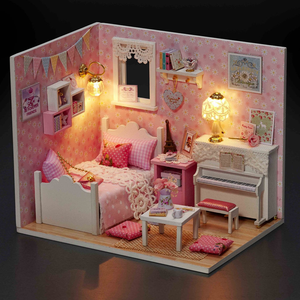 pink dolls house furniture. New Doll House Furniture Diy Miniature Dust Cover 3d Wooden Handmade Pink Dollhouse Toys With Light Led For Kids Christmas Gifts-in Houses From Dolls U