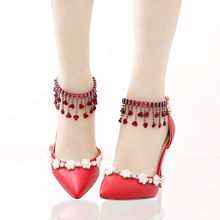 Red wedding shoes Sandals pointed toe ultra thin high heels rose wristband pearl bridal shoes rhinestone sandals party shoes