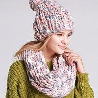 Топ продаж вязать зима теплая шапка и шарф набор для Для Женщин Девочек шапочки толстые женские капот шарф комплект Для женщин снуд шарф