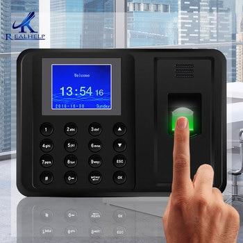 Empleado escaneando huella dactilar en la máquina para registrar el tiempo de trabajo 2000 usuarios más baratos asistencia máquina TimeTrak sistemas