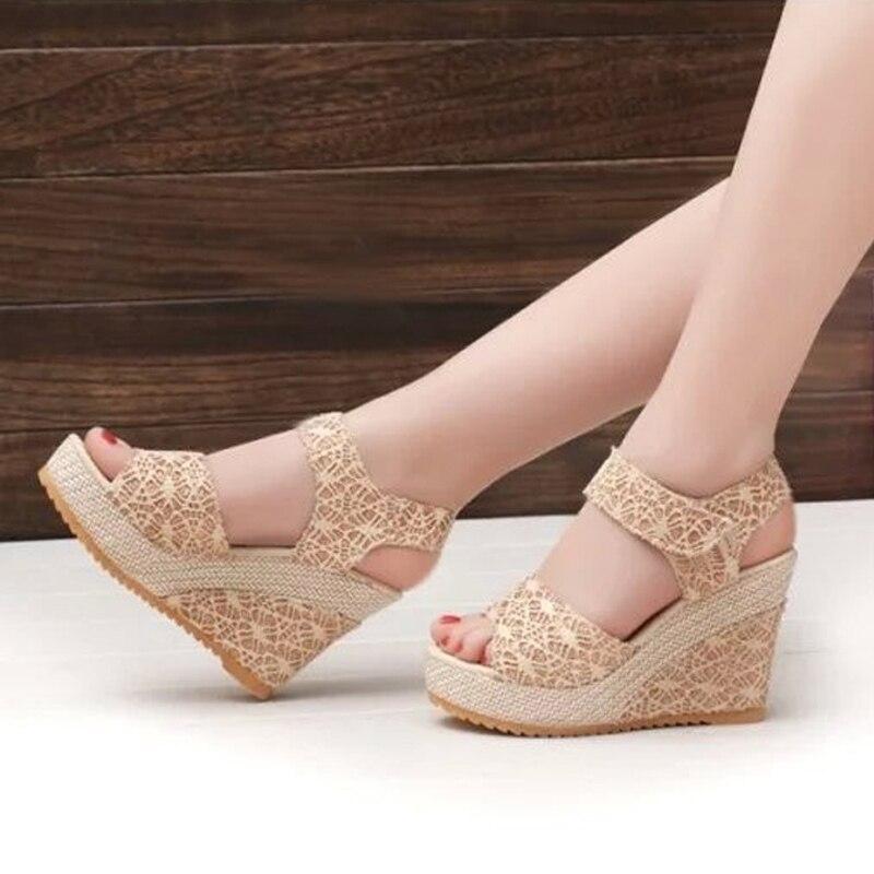 ФОТО Best-Selling Women Sandals Size 35-40 Summer New Open Toe Fish Head platform High Heels Wedge Sandals female shoes women shoes