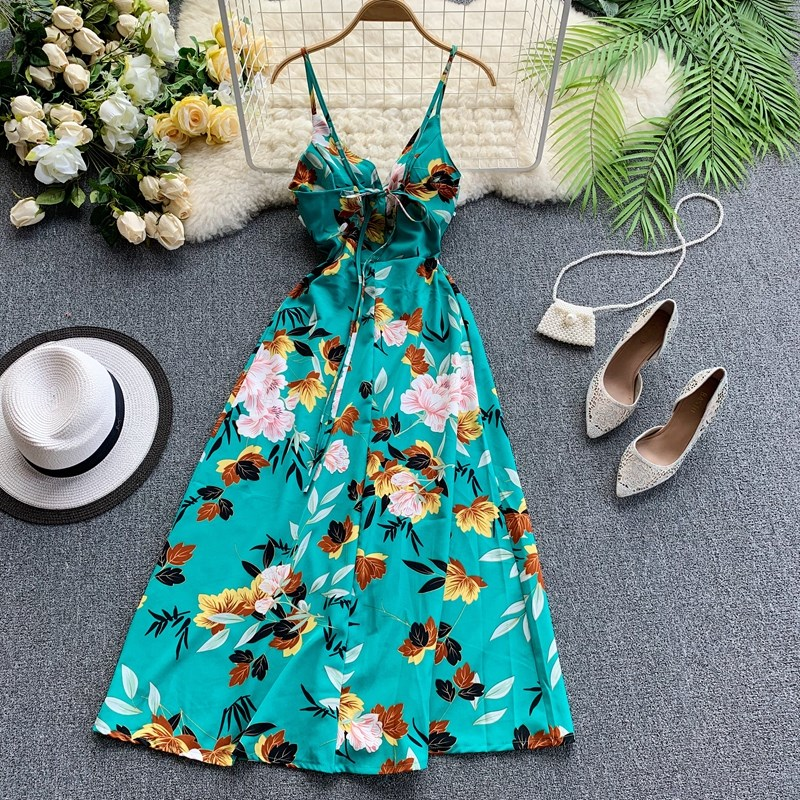 Women Spaghetti Strap Maxi Dress Sexy Backless Chiffon Dress A Line Casual Floral Print Bohemian Dress in Dresses from Women 39 s Clothing