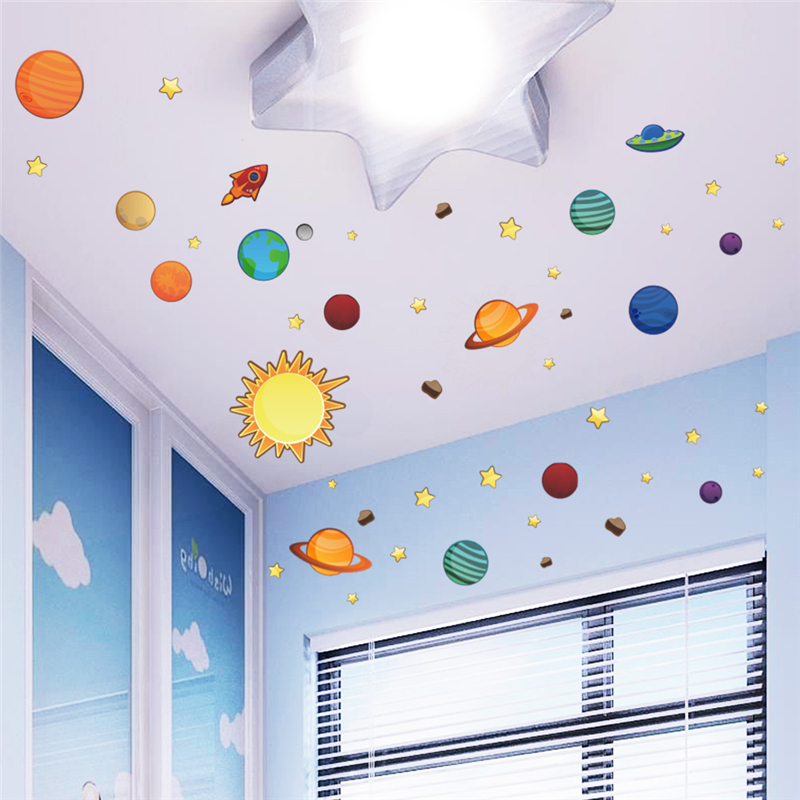 new diy home decal roof wall sticker outer space planet for creative kids room baby nursery. Black Bedroom Furniture Sets. Home Design Ideas